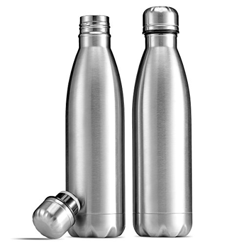 FineDine 18/8 Double-Wall Insulated Stainless Steel Water Bottles (Set of 2) vacuum Leak-Proof Lid, sports water bottle for Cold and Hot Drinks for Gym, Camping, Hiking, Biking, Brushed Metal, 17 Oz