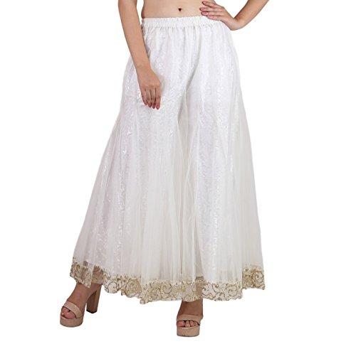 Shararat Women's Palazzo Pants Net Loose Flared High Waist Sharara Trouser White