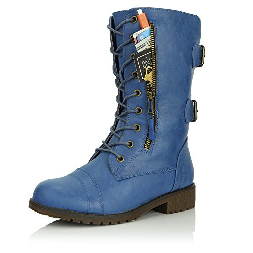 DailyShoes Women's combat booties ankle mid calf low heel lace up zip pocket buckles Ankle Combat Bootie Fashion Classic Fish Mouth Strap Party Square Mid Knee High Exclusive Credit Card Pocket Boots Blue,Pu,6