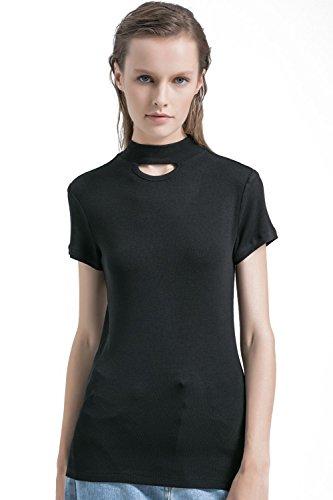 APRLL Women Short Sleeve Mock Neck Tunic Ribbed Knit Shirt Tops (XS-XL)