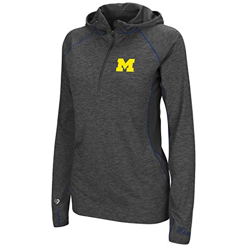 Colosseum Womens NCAA-Capo Ferro-1/4 Zip-Heathered Charcoal-Hoodie Pullover Windshirt-Michigan Wolverines-Large (Zip Gifts Hoodie Womens)