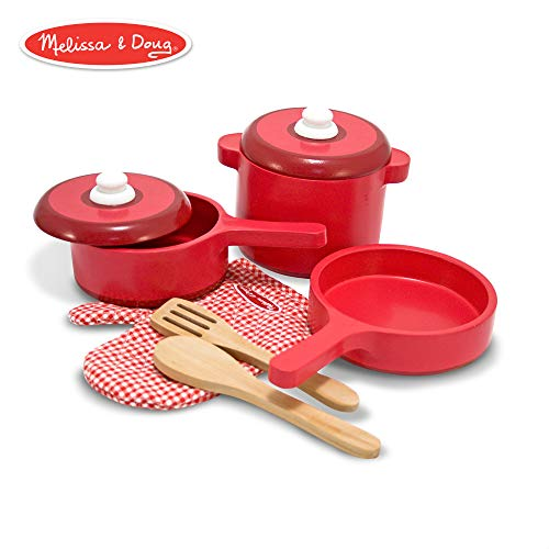 (Melissa & Doug Deluxe Wooden Kitchen Accessory Set - Pots & Pans (8)
