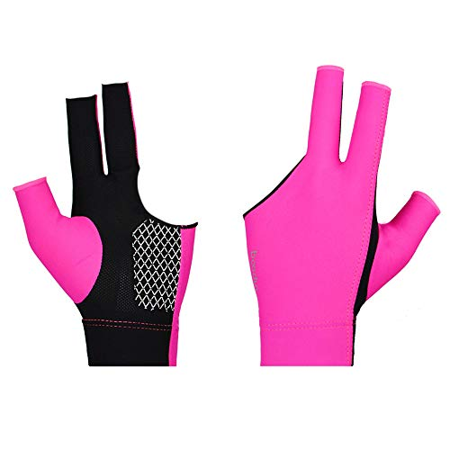 Billiard Glove for Men Women Spandex Snooker Three-Finger Pool Left and Right Hand Open Reduce Friction (Hot Pink, M)