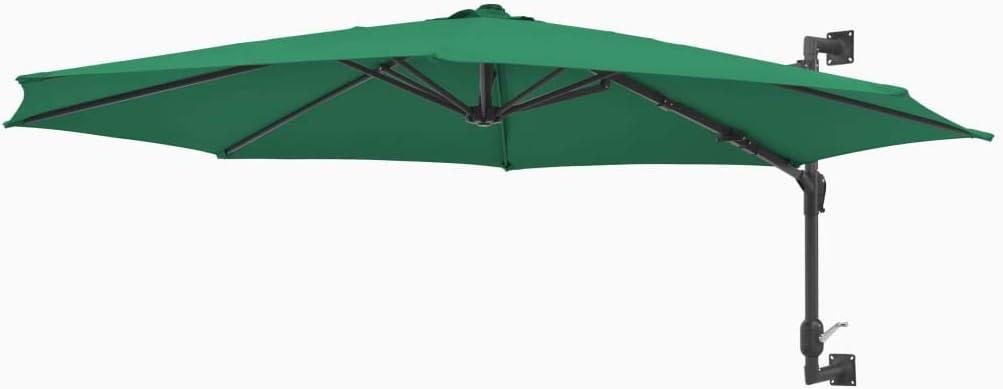 tidyard Sombrilla de Pared de Jardín con 8 Varillas Garden Parasol Parasol de Jardín para Terraza Jardín Playa Piscina Patio,Barra de Metal,Verde 300x131cm