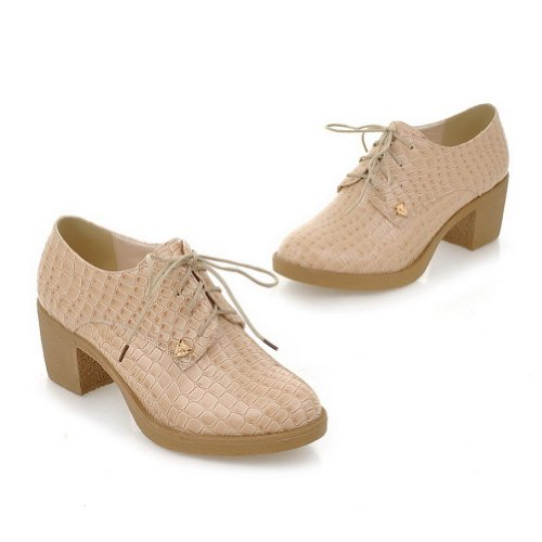 Solid 5 Toe PU whith 5 Bandage Low Heel Pumps WeenFashion Closed Round B US M Women's Apricot Square ORq8nwp