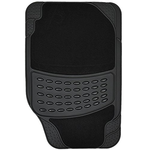 Heavy Duty Universal Car Mats - Rubber and/or Carpet - Non Slip - Choose Your Style - 4 Pieces - Rubber Carpet