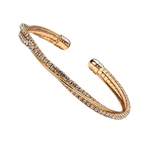 IDesign Cuff Bangle Bracelets for Women Rhinestone Bracelet Clear Crystal Cuff Bracelet Bangle Lightweight Gold Plated Bracelet Jewelry for Women Girls Gift for Birthday Party Everyday wear