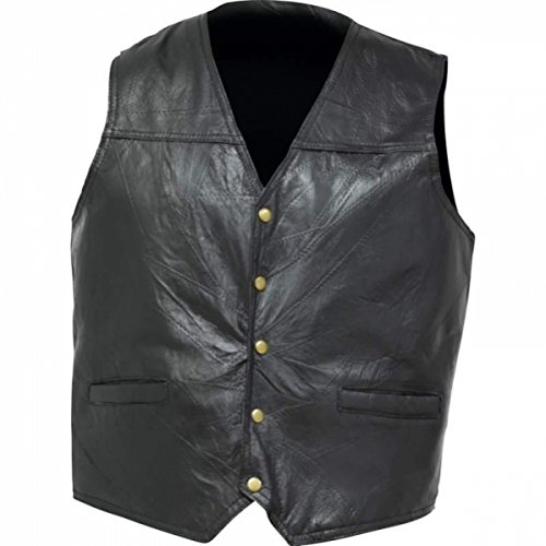 BNFUSA GFVGP3X Black Italian Stone Design Leather Concealed Carry Vest - 3X