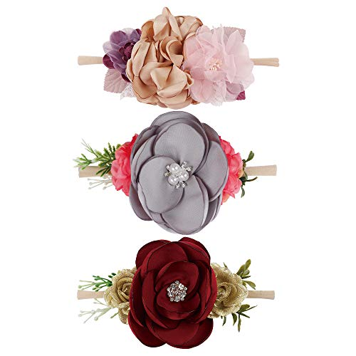 Baby Girls Nylon Floral Headband - Subesty Flower Crown Elastic Hairband For Newborn Infant Toddler Photo Shower Set Of 3