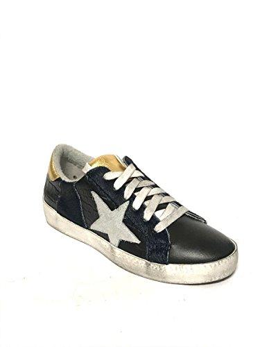 Mainapps In Pelle Vera Zeta Vintage Shoes Sneakers Sportive Blu Basse Scarpe gqTzxfZT