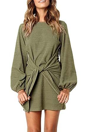 R.Vivimos Women Autumn Winter Cotton Long Sleeves Elegant Knitted Bodycon Tie Waist Sweater Pencil Dress (Small,Army Green)