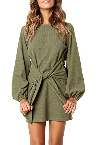 R.Vivimos Women's Autumn Winter Cotton Long Sleeves Elegant Knitted Bodycon Tie Waist Sweater Pencil Dress (XL,Army Green)