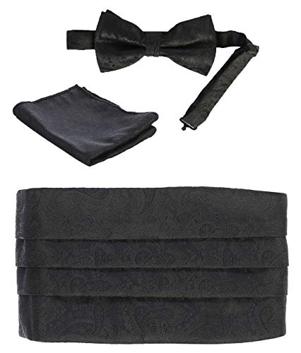 Gioberti Kids/Boys' Adjustable Paisley Cummerbund Set With Formal Bow Tie and Pocket Square, Black ()