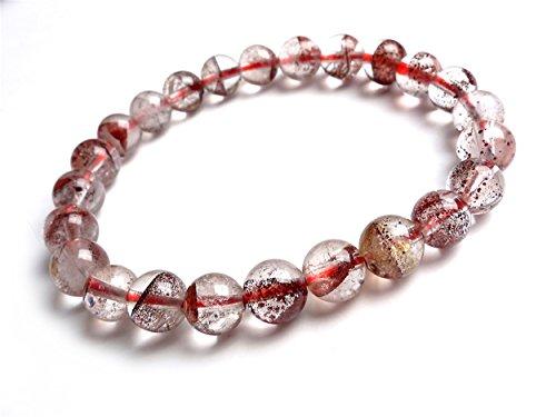 LiZiFang Genuine Natural Red Phantom Quartz Crystal Stretch Round Bead Bracelet 7.5mm