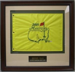 Ernie Els signed 2005 Masters Flag Custom Framed - Autographed Pin Flags (2005 Masters Flag)