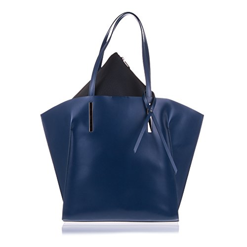 FIRENZE ARTEGIANI.Bolso TOTE de mujer piel auténtica.Bolso cuero genuino.Asa y lazo decorativo. MADE IN ITALY. VERA PELLE ITALIANA.BASE INFERIOR : 32 BASE SUPERIOR : 47 x 42x15 cm. Color AZUL MARINO AZUL MARINO