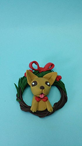 Dog Christmas ornament,Chihuahua dog ornament clay miniature,clay figure,custom dogs Xmas wreath,handmade clay pet for dog or cat lovers