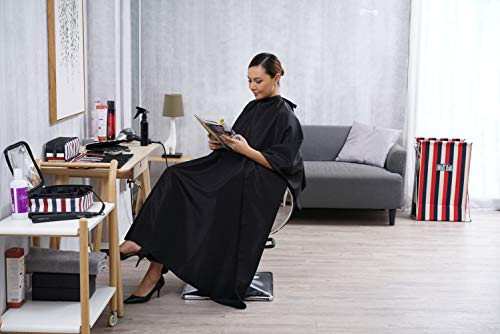 SMARTHAIR Professional Salon Cape Polyester Haircut Apron Hair Cut Cape,54''x62'',Black,C007001E-L by SMARTHAIR (Image #4)