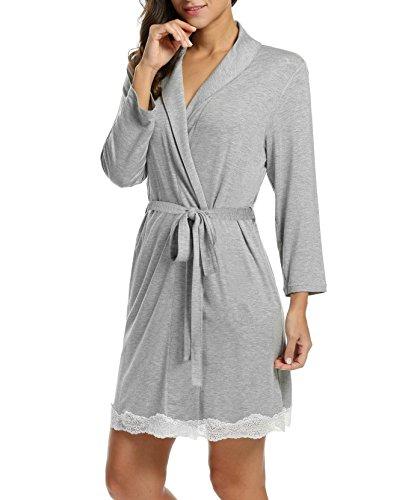 adomer Mujer Batas Kimono Algodón Camisón Encaje Pijama Túnica Ropa de Dormir: Amazon.es: Ropa y accesorios