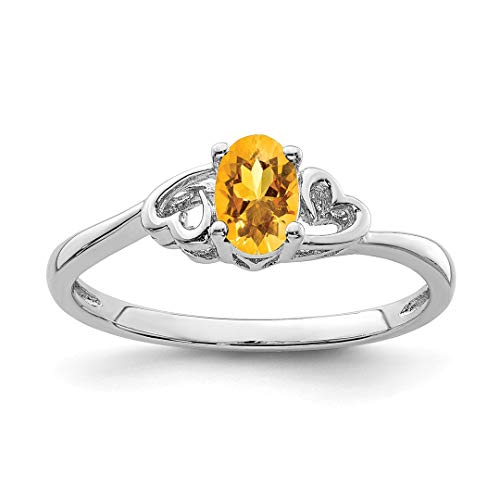 925 Sterling Silver Yellow Citrine Band Ring Size 7.00 Birthstone November Gemstone Fine Jewelry Gifts For Women For Her ()