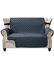 Home Beyond & HB design - Quilted Sofa Cover Slipcover Protector - Reversible Couch Cover Furniture Protector with Non-Slip Adjustable Elastic Strap for PetsKidsDogCat