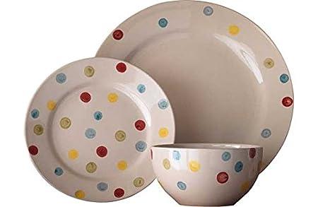 12 Piece Hand Painted Spotty Stoneware Dinner Set.  sc 1 st  Amazon UK & 12 Piece Hand Painted Spotty Stoneware Dinner Set.: Amazon.co.uk ...