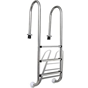 SKB Family Stainless Steel In-Pool Ladder 3 Steps Above Ground Wall Liner Step