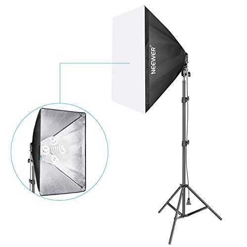 Neewer 800W Photo Studio Video Softbox Lighting Kit Includes: (1)50 x 70 centimeters Softbox, (1)4-Socket Light Holder, (4)45W Light Bulb, (1)200cm Light Stand, (1)Carrying Case for Portrait Shooting by Neewer
