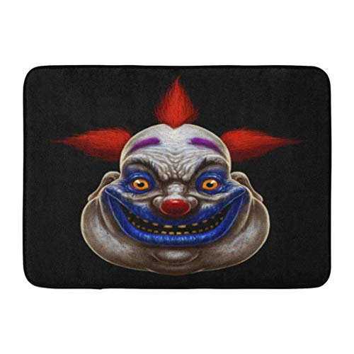 Koperororo Doormats Bath Rugs Outdoor/Indoor Door Mat Red Horror Evil Scary Smiling Fat Clown Halloween Circus Character on Mask Creepy Bathroom Decor Rug 16