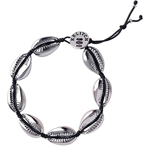 KELITCH Natural Shell Gold Shell Cowry Beaded Friendship Bracelets Boho Fashion Beach Seashell Strand Bracelets Women Jewelry (Black 2B) - Black Strand Gold Bracelets
