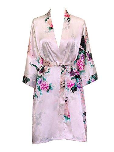 (Old Shanghai Women's Kimono Short Robe - Peacock & Blossoms - Light Pink (On-Seam Pocket))