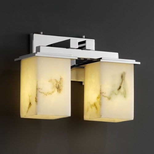 Bars Alabaster - Justice Design Group LumenAria 2-Light Bath Bar - Polished Chrome Finish with Faux Alabaster Resin Shade by Justice Design