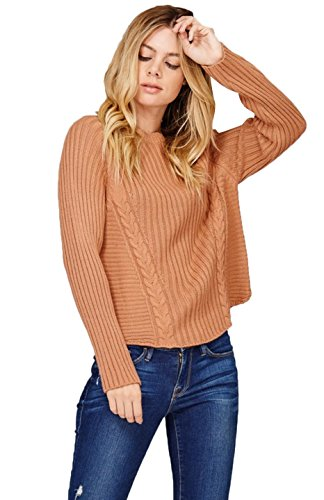 BodiLove Women's Chunky Cable Knit Pullover Oversize Sweater Nude (Chunky Pullover)