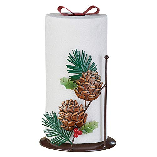 (Decorative Pinecones Paper Towel Holder, Durable Metal, Easy to)
