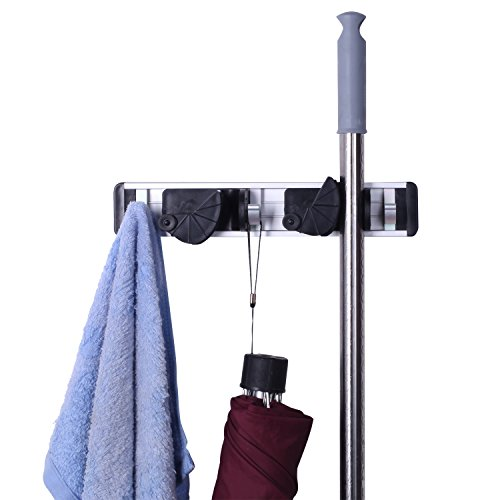 Cinlv 2 Positions Wall Bath Mounted Dust Mop Racks broom Hanger and Dust Mop Closet Equipment Storage Organizer