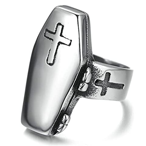 Bishilin Stainless Steel Retro Men Women Coffin Rings with Cross On Size 9 (Sterling Silver Coffin Ring)