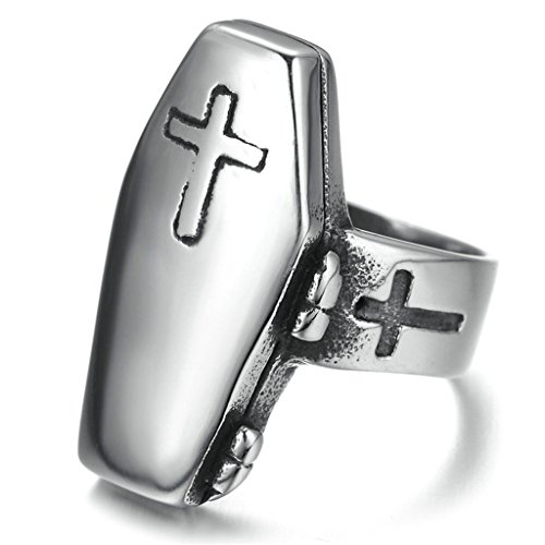 [Bishilin Stainless Steel Retro Men Women Coffin Rings with Cross On Size 13] (Red Skull Costume Uk)