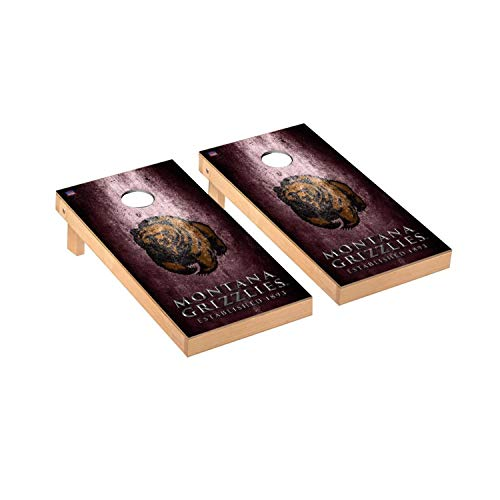 Victory Tailgate Regulation Collegiate NCAA Museum Series Cornhole Board Set - 2 Boards, 8 Bags - University of Montana Grizzlies