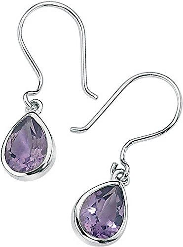 Elements Silver Womens Amethyst Teardrop Earrings - Silver/Purple