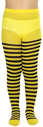 ToBeInStyle Girls' Horizontal Striped Full Length Tights - Black/Yellow - -
