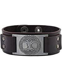 Pagan The Celtic Tree of Life Crafts Connector Leather Cuff Bracelet Men Women Jewelry