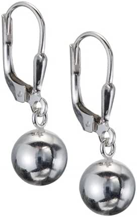 Sterling Silver Dangling Polished Ball Leverback Earrings