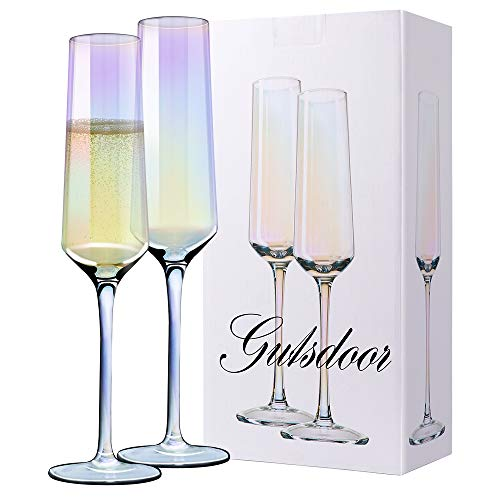 Gutsdoor Crystal Champagne Flutes Glass Set of 2 Iridescent Champagne Glass Flutes Wedding Christmas Valentine Cheers…