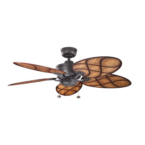 Kichler 320510DBK Crystal Bay Climates 52-Inch Wet Location Ceiling Fan, Distressed Black Finish (Blades Sold Separately)