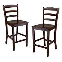 Winsome Wood 24-Inch Counter Ladder Back Stool, Set of 2