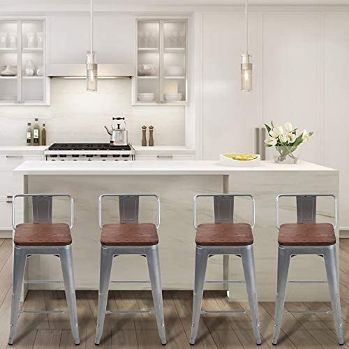 Andeworld Metal Bar Stools Counter Height Stool Industrial Kitchen Barstools Set of 4 30 Inch