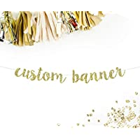 Custom Party Banner in Gold Cursive Letters    personalized birthday baby shower anniversary wedding bridal shower baby announcement gender reveal retirement sweet 16