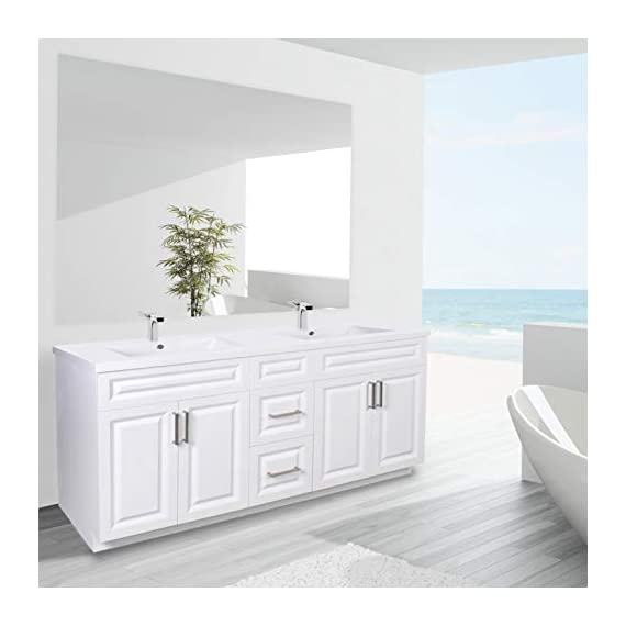 """Dyconn Faucet VCSH60W Harrington Collection 60"""" Freestanding Shaker Bathroom Vanity with Double Stone Resin Countertop Basin, Matte White - Vanity set: includes base cabinet (with four doors / two drawers) and double basins High-grade construction: made of premium plywood to achieve outstanding durability and stability for prolonged use Pre-drilled 1 3/8 faucet hole and 1 7/10 drain hole for additional convenience - bathroom-vanities, bathroom-fixtures-hardware, bathroom - 41aVjCZ14KL. SS570  -"""