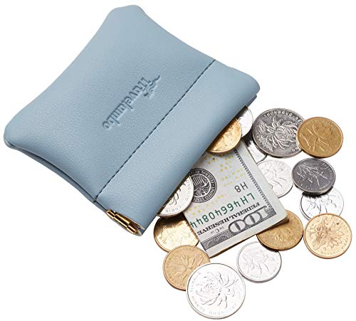- Travelambo Genuine Leather Squeeze Coin Purse Pouch Change Holder For Men & Women (Access Blue Classic)