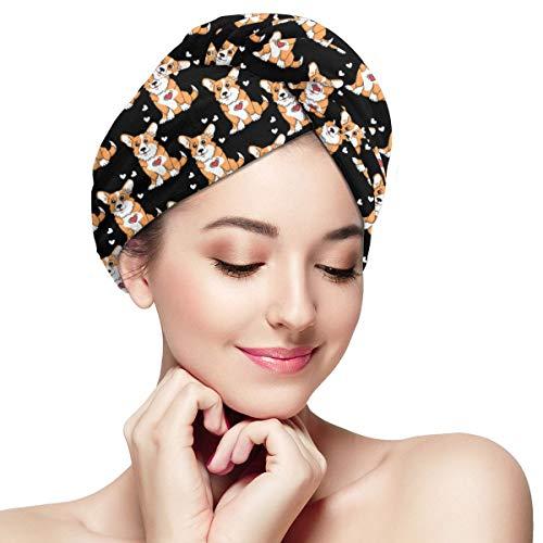 - Hair Towel Wrap Turban Microfiber Drying Bath Shower Head Towel with Buttons, Quick Magic Dryer, Dry Hair Hat, Wrapped Bath Cap Corgis Funny Dog